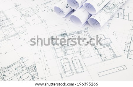 blueprints and house plan, business concepts and ideas - stock photo