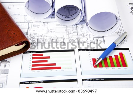blueprints, charts of growth and daily, business collage