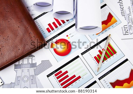 blueprints, charts of growth and daily, business still life