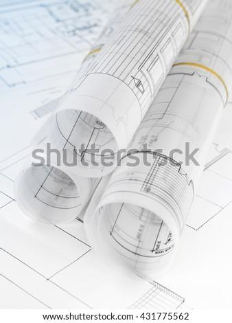 Blueprints close-up - stock photo