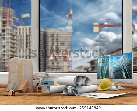 blueprints, computer and builder's work tool on wooden table - stock photo