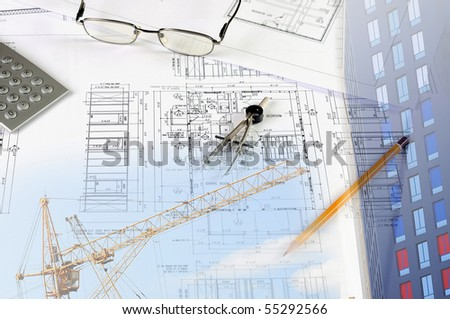 blueprints, construction - a collage as the concept of a successful construction - stock photo