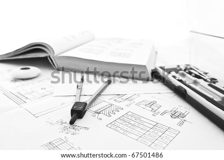 Blueprints, design, reference book,  rubber, pair of compasses and other drawing instruments isolated on white background. Monochrome colors picture.