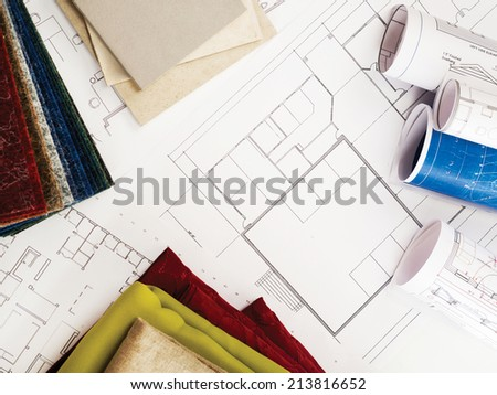 Blueprints, wood,material and stone samples - stock photo