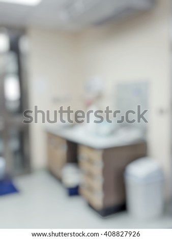 Blur abstract background laboratory interior cleaning working station out of focus, template for a poster, webpage or leaflet.Blurred  lab room with work table and sink to clean scientific  equipment. - stock photo