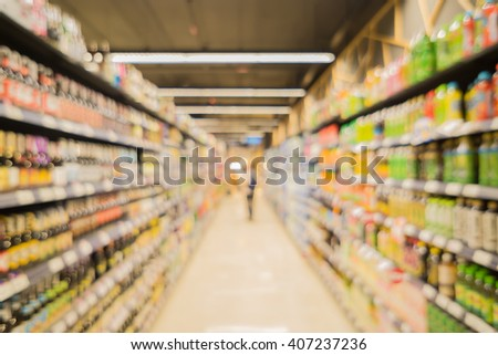 Blur abstract background of people shopping in super market ,products on shelves ,Supermarket store blur background with bokeh,View in Supermarket  Shelves,customer defocus background,vintage color