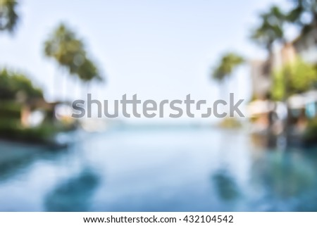 Blur abstract background vintage style resort hotel swimming pool reflective water surface, blue cool clear sky, coconut palm tree row: Blurry perspective view vacation summer holiday relaxation pond - stock photo