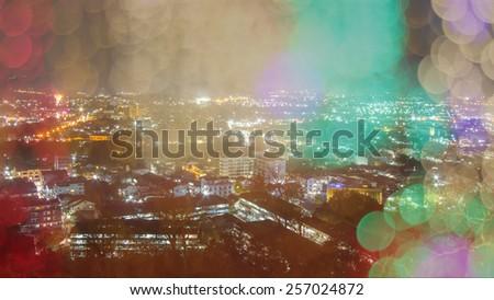 blur abstract bokeh of city night light background,phuket. - stock photo
