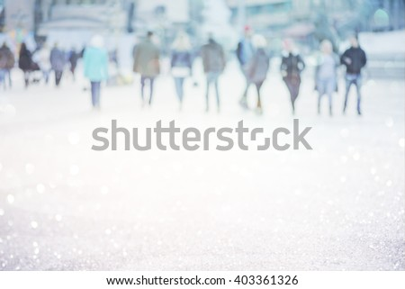 blur abstract people background, unrecognizable silhouettes of people walking on a street - stock photo