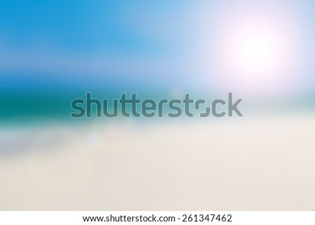 Blur Background Blue Sky Beach in Summer Season. - stock photo