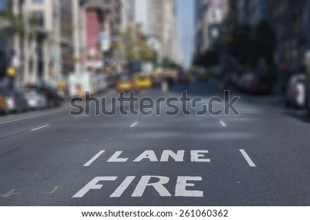 Blur Background Fire Lane New York City streets in the Afternoon - stock photo