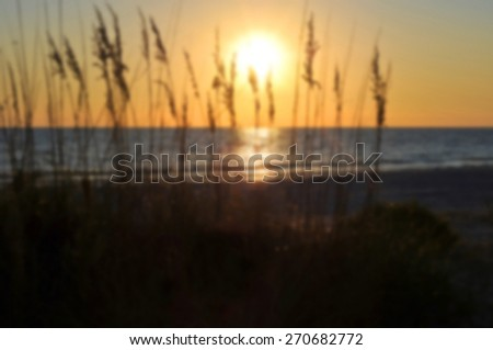 Blur Background Image of a Beach Sunset on the Gulf of Mexico  - stock photo