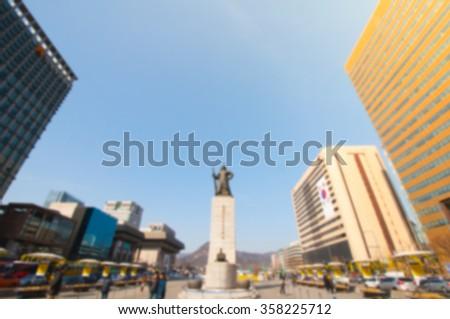 Blur background image of Gwanghwamun Square in Seoul, South Korea. - stock photo