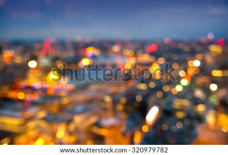 Blur background. London at sunset, panoramic view city lights - stock photo