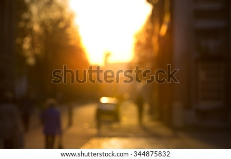 Blur background, London street at sunset - stock photo