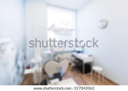 Blur background of dentist's office. Dental equipment, modern interior - stock photo
