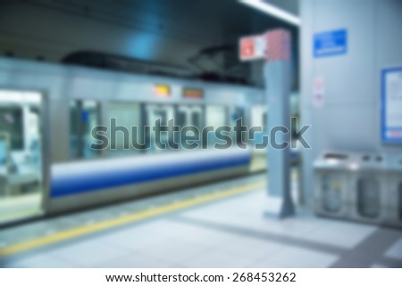 Blur background of train station - stock photo