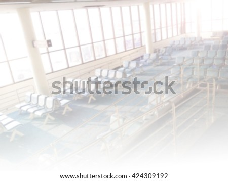 Blur background : Passenger waiting for flight at airport gate blur background with light. - stock photo