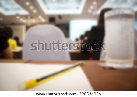 blur background with seminar event room, Business concept.