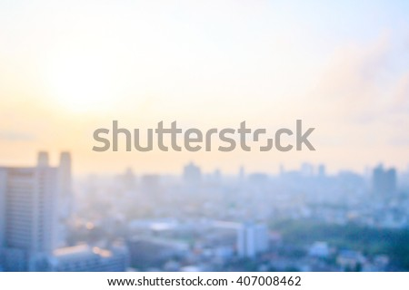 Blur big city. Town Glow Flare Soft Pastel Sepia Gold Blue Sun Plan Hope Dawn Urban Asia New Road Style Hotel Nature Floor Place Office Cloud Resort Aerial Horizon Image Research Banner Ecology Colors