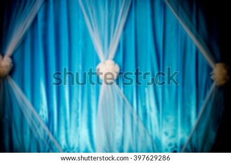 Blur Blue and white Curtain on Stage as Background - stock photo