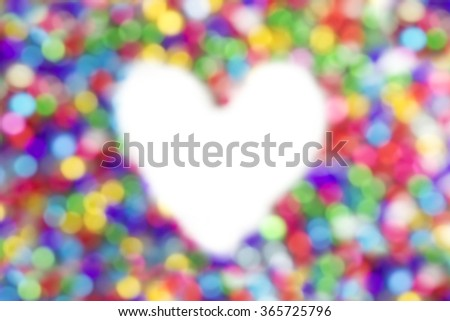 Blur Bokeh space heart abstract valentines background.  - stock photo