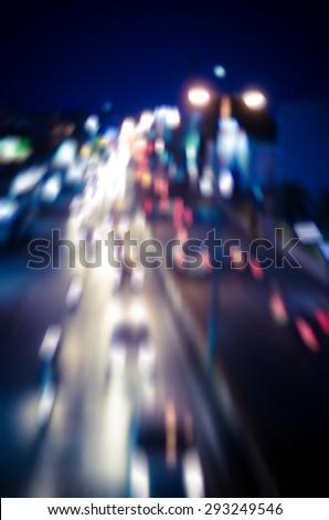 blur cars traffic on urban street tone vintage - stock photo