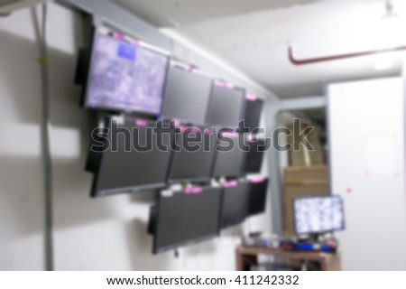 blur CCTV monitor room.