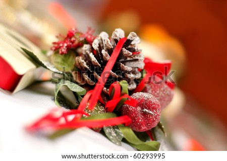 Blur christmas decoration with  candle and cone on the holiday table, background - stock photo