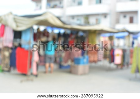 blur crowd on the outdoor market and abstract blur background - stock photo