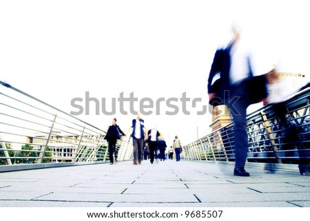blur effect showing the stress of modern life (intentional blur and overexposure) - stock photo