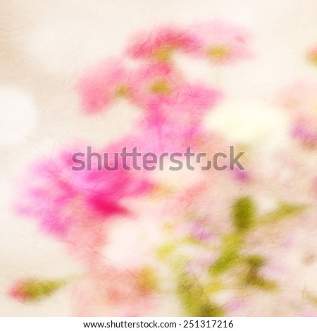 blur flower on mulberry paper texture for romantic background    - stock photo