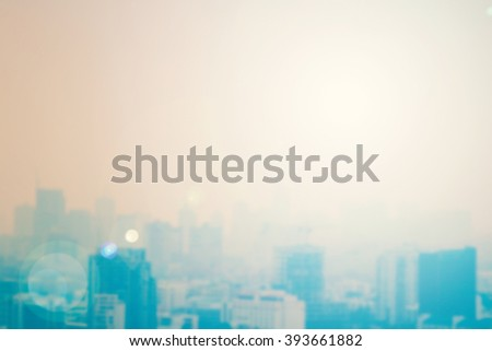 Blur gold big city concept. Aerial Amazing Beauty Warm Light Hotel Resident Asia Industry Market Soft Town Urban Glow Sun Hope Office Nature Night Horizon Planing Capital Backdrop Economy Abstract. - stock photo