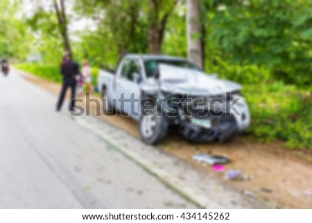 Blur image of accident on the road , use for background. - stock photo