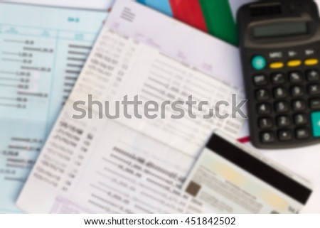 Blur Image of Bank account , finance and investment concept - stock photo