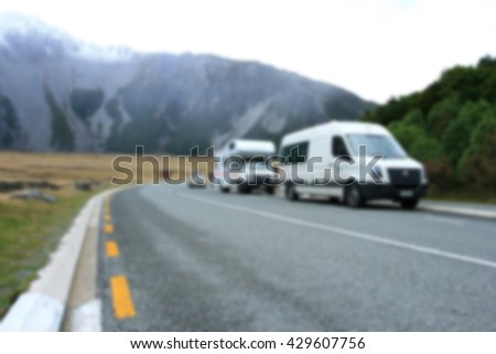 blur image of Beautiful landscape On the way to Mt.cook, South island New Zealand. for background usage. - stock photo
