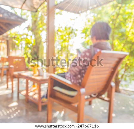 blur image of  in living room near the garden . - stock photo