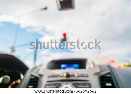 blur image of inside cars with bokeh on day time for background usage .