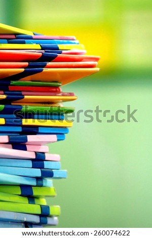 blur image of  many books are stacking in the public library room in dry paint - stock photo
