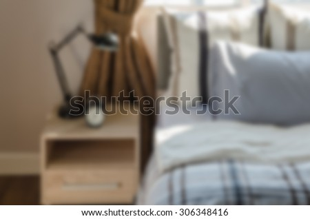 blur image of modern bedroom at home
