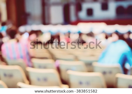 blur image of Parent looking at kids on school stage. - Retro style