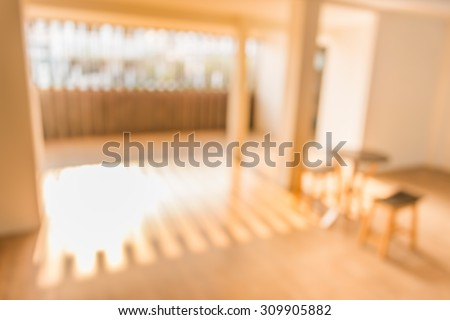 blur image of Small white waiting room with corridor without people for background usage. - stock photo