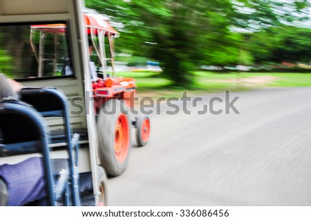 Blur image show the speed of the shuttle bus for transfer passengers