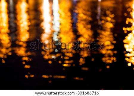 Blur lighting bokeh frome city reflex on water background.
