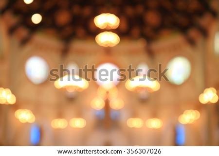 blur lighting in the Church - stock photo