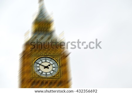 blur london   big ben and historical old construction england   city - stock photo