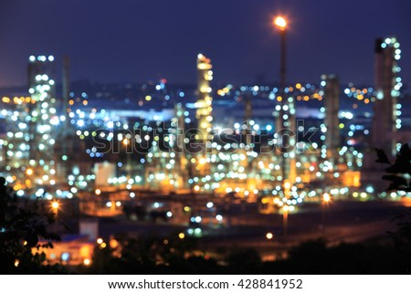 Blur of oil refinery factory. - stock photo