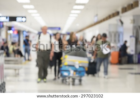 Blur of traveller or passenger at the airport.  - stock photo