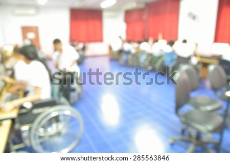 Blur or Defocus Background of Students in Computer Classroom - stock photo