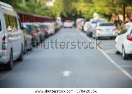 Blur parallel parking on the road - stock photo